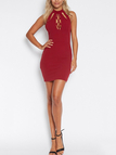 Burgundy Sexy Halter Dress with Cut Out Details