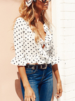 White Chiffon Wave Point Deep V-Neck Flounced Details Blouses