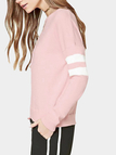 Pink Casual Round Neck Stripe Pattern Top