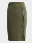 Army Green High-waisted Rivet Detail Split Skirt