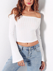 White Off The Shoulder Flared Sleeves T-shirt