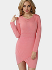 Pink Bodycon Fit Front Wrapped Mini Dress