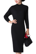 Black Knitted Midi Basic Dress