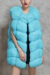 Blue Dyed Artificial Fox Fur Vest