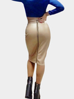 Leather Look Pencil Skirt in Gold