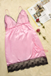 Pink Deep V-neck Lace Hem Pajamas with Briefs