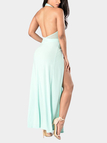 Sexy Open Back Splited Hem Maxi Dress