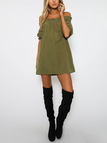 Off-The-Shoulder Mini Dress in Army Green