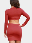 Red Sexy Bodycon Long Sleeves  Mini Dress with Cut Out Details