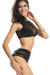 Black Mesh High Waist Bikini Set