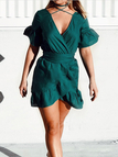 Dark Green Deep V-neck Flounce Design Wrap Mini Dress