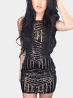 Black Bodycon Halter Sequins Random Geometry Pattern Mini Dress