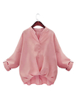 Loose Pink Shirt Single Breasted Design Pleats Shirt