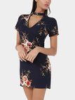 Navy Random Floral Print V-neck Choker Mini Dress