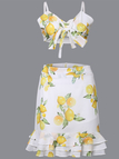 Lemon Floral Print Crop Top and Mini Skirt Two Piece Outfits