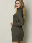 Knit Green Turtleneck Fall Style Long Sleeve Sweater Dress
