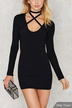 Cross Strap Bodycon Mini Dress
