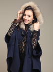 Fur Hooded Cape in Navy