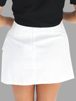 A-line Lace-Up Mini Skirts in White