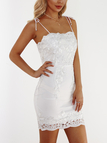 White Embroidered Pattern Lace-up Design Sleeveless Lace Dress
