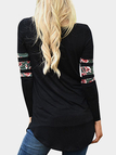 Black Floral Stitching Round Neck Long Sleeves T-shirt