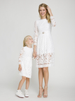 White Mom and Me Hollow Out Delicate Lace Matching Midi Dress - Mom