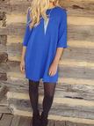 Blue Mini Dress with Shoulder Zip