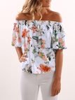 Random Floral Print Elastic Off-The-Shoulder Blouse
