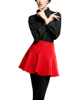 Red Mini Skirt with Flounced hem