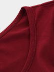 Burgundy Floral Stitching Round Neck Long Sleeves T-shirt