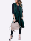 Malachite Green Lightweight Lapel Collar Sleeveless Long Trench Coat