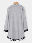 Grey  Knitting Design Tassel Hem Plain Long Sleeves Cardigans