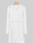 White Lace Details Crew Neck Long Sleeves Dress