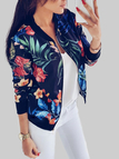 Random Floral Print Baseball Collar Long Sleeves Outerwear