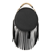 Round Leather-look Fringe Gold Top Handle Bag in Black