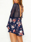 Navy Lace & Floral Print Deep V Neck Flared Sleeves Playsuits