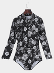 Black Floral Pint Long Sleeve + Zipper Front Swimwears