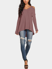 Cold Shoulder Long Sleeves Knitted Top