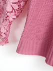 Pink Round Neck Lace Details T-shirt with Hollow Sleeves Design