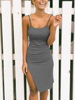 Bodycon Knit Thigh-Slit Midi Slip Dress in Dark Grey