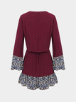 Burgundy Mini Dress with Tie Front and Tassels