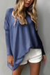 Blue Round Neck Long Sleeves Loose Plunge T-shirt Dress
