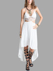 Plunge Lace Insert Cut Out High Low Hem Maxi Dress in White