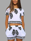 Black Foliage Print Shorts Co-Ord Set