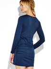 Blue V-neck Bodycon Long Sleeves Dress