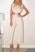 Beige Sexy Sleeveless Cut Out Jumpsuit with Crew Neck