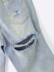 Fashion High-rise Butt Rips Details Jeans in Blue