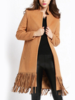 Tan Lapel Collar Duster Coat with Tassel Hem