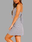 Grid Pattern Self-tie Design Sleeveless Dress