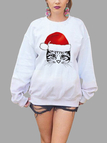 Active Round Neck Printed Design Christmas Sweatshirts in White
